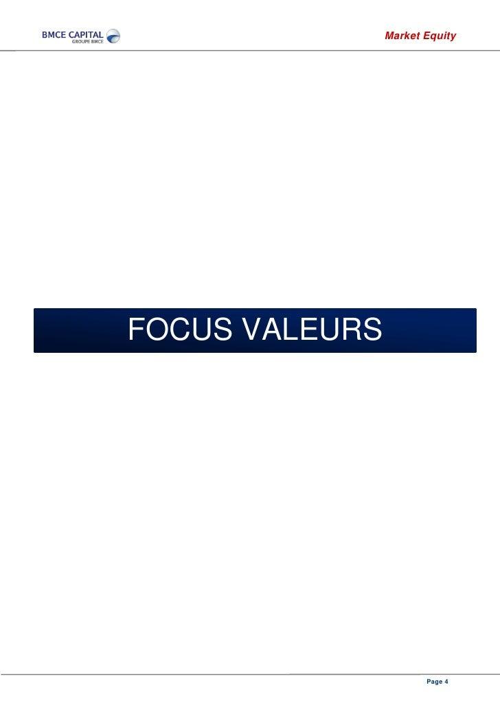Market EquityFOCUS VALEURS                       Page 4