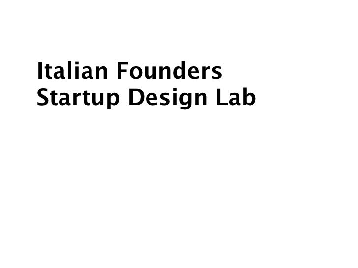 Italian FoundersStartup Design Lab