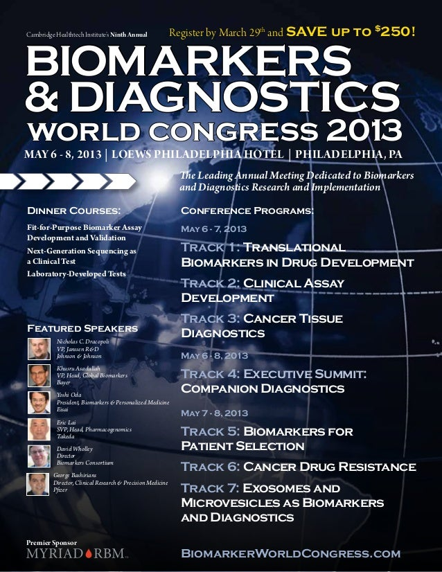 Cambridge Healthtech Institute's Ninth Annual               Register by March 29th and SAVE up to $250!BIOMARKERS& DIAGNOS...