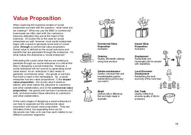 16 Value Proposition When exploring the business models of social enterprises we start with the question, 'what value are ...