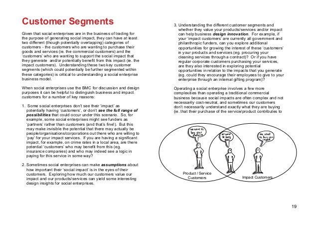 19 Customer Segments Given that social enterprises are in the business of trading for the purpose of generating social imp...