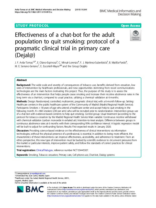 STUDY PROTOCOL Open Access Effectiveness of a chat-bot for the adult population to quit smoking: protocol of a pragmatic c...