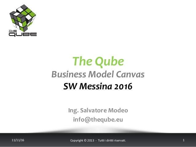 TheQube BusinessModelCanvas SWMessina2016 11/11/16 Copyright©2013-Tu5idiri5riserva;. 1 Ing.Salvator...