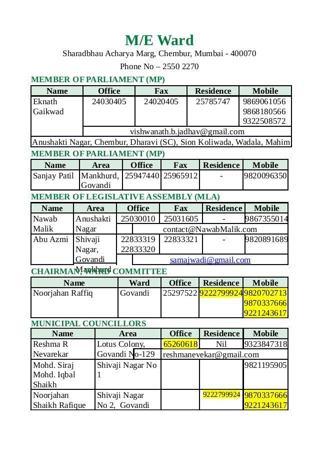 M/E WardSharadbhau Acharya Marg, Chembur, Mumbai - 400070Phone No – 2550 2270MEMBER OF PARLIAMENT (MP)Name Office Fax Resi...