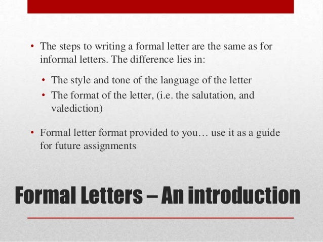 formal letters introduction