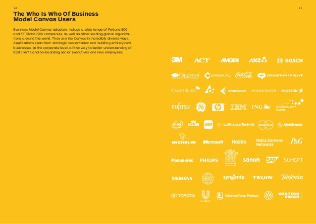 Business Model Canvas adopters include a wide range of Fortune 500 and FT Global 500 companies, as well as other leading g...