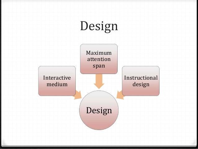 Design Design Interactive medium Maximum attention span Instructional design