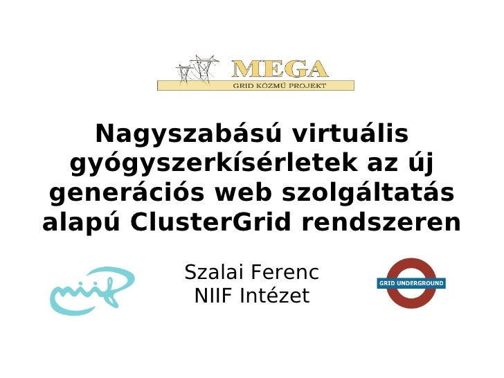 Nagyszabású virtuális  gyógyszerkísérletek az újgenerációs web szolgáltatásalapú ClusterGrid rendszeren         Szalai Fer...