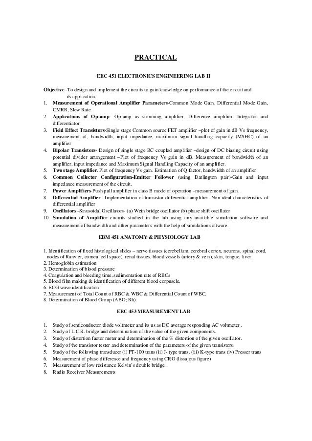 Bme Syllabus Effective For The 2011