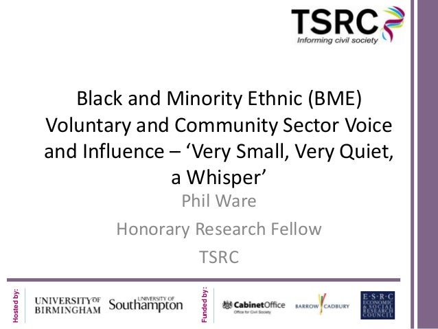 Black and Minority Ethnic (BME) Voluntary and Community Sector Voice and Influence – 'Very Small, Very Quiet, a Whisper'  ...