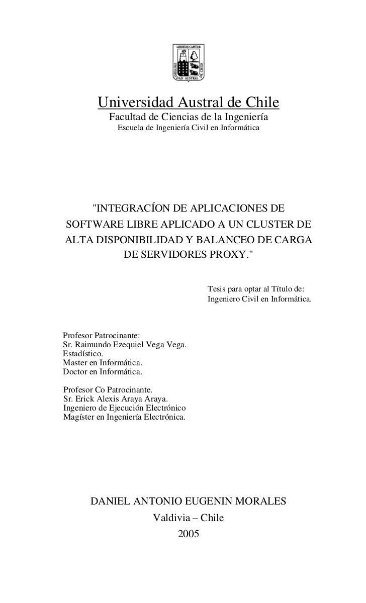 Universidad Austral de Chile             Facultad de Ciencias de la Ingeniería               Escuela de Ingeniería Civil e...