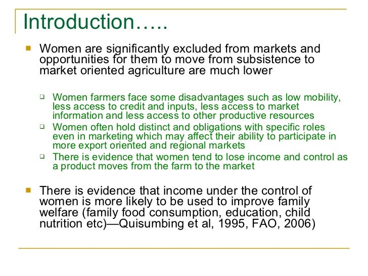 Women, markets and intra-household dynamics Slide 2