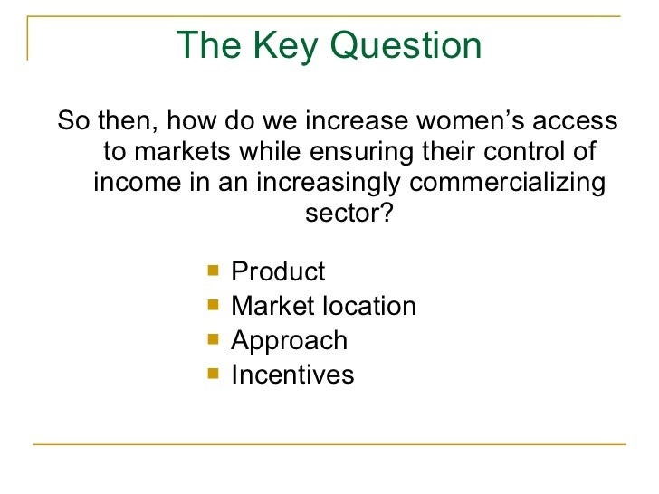 Women, markets and intra-household dynamics Slide 3