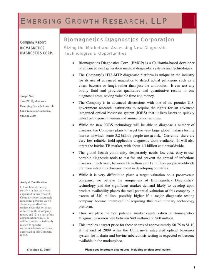 E MERGING G ROWTH R ESEARCH , LLP  Company Report:                                  Biomagnetics Diagnostics Corporation B...