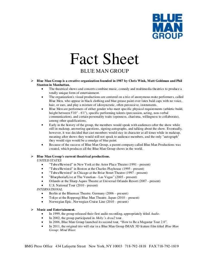 Blue Man Group Press Kit