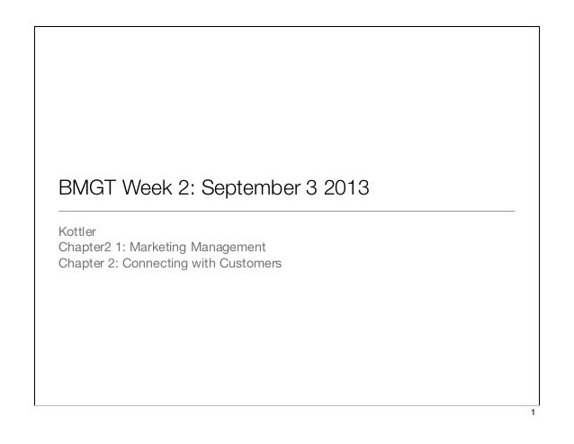 BMGT Week 2: September 3 2013 Kottler Chapter2 1: Marketing Management Chapter 2: Connecting with Customers 1