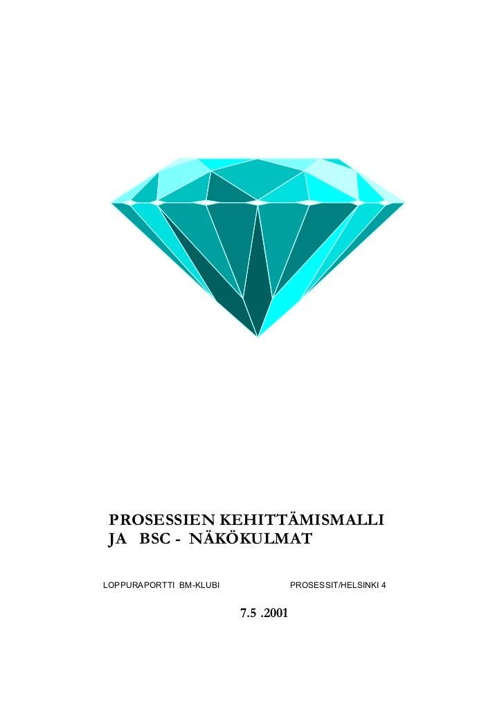 PROSESSIEN KEHITTÄMISMALLI JA BSC - NÄKÖKULMATLOPPURAPORTTI BM-KLUBI               PROSESSIT/HELSINKI 4                   ...