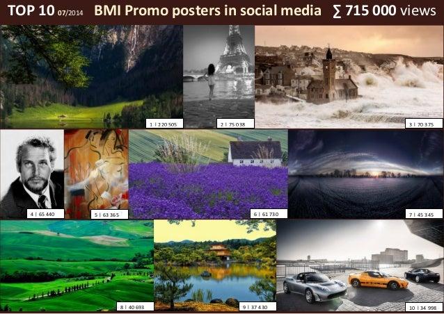 TOP 10 07/2014 BMI Promo posters in social media ∑ 715 000 views 1   220 505 2   75 038 3   70 375 4   65 440 6   61 7305 ...
