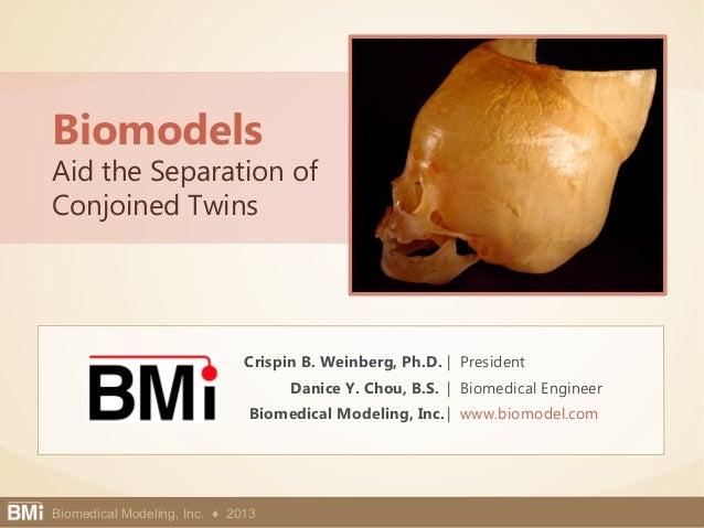 Biomedical Modeling, Inc. 1Biomedical Modeling, Inc. ♦ 2013 Crispin B. Weinberg, Ph.D. | President Danice Y. Chou, B.S. | ...