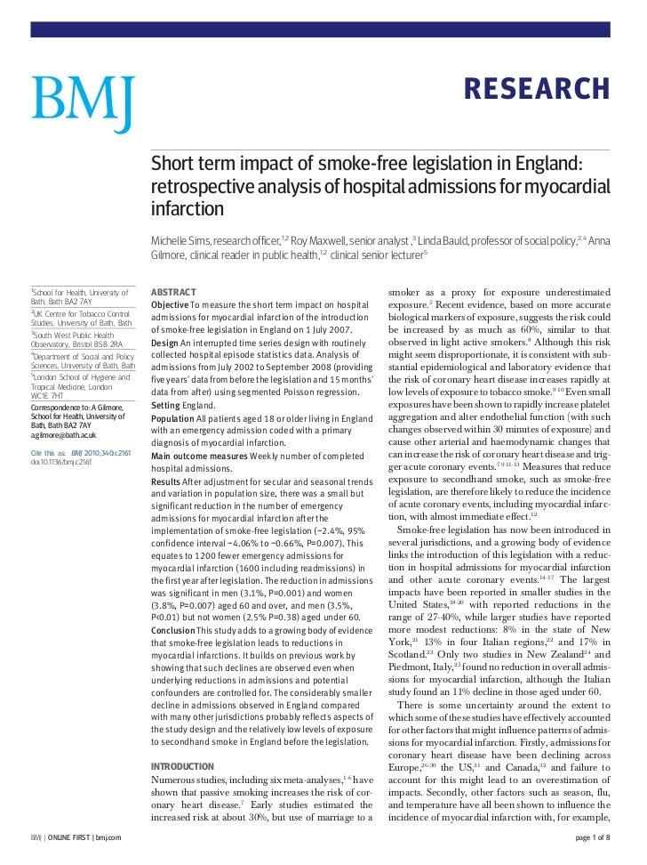 RESEARCH                                     Short term impact of smoke-free legislation in England:                      ...
