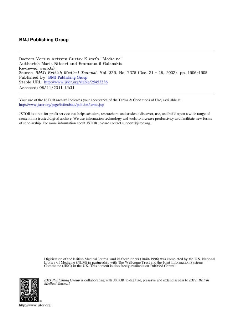 "BMJ Publishing GroupDoctors Versus Artists: Gustav Klimts ""Medicine""Author(s): Maria Bitsori and Emmanouil GalanakisReview..."