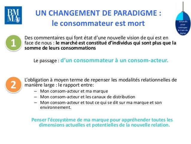 10 lundis  pour  rattraper  le train du  digital  UN CHANGEMENT DE PARADIGME :  le consommateur est mort  Des commentaires...