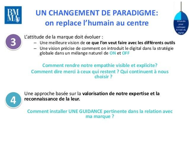 10 lundis  pour  rattraper  le train du  digital  UN CHANGEMENT DE PARADIGME:  on replace l'humain au centre  L'attitude d...