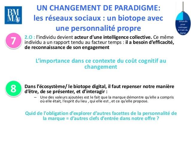 10 lundis  pour  rattraper  le train du  digital  UN CHANGEMENT DE PARADIGME:  les réseaux sociaux : un biotope avec  une ...