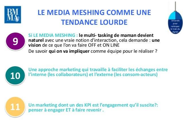 10 lundis  pour  rattraper  le train du  digital  LE MEDIA MESHING COMME UNE  TENDANCE LOURDE  Si LE MEDIA MESHING : le mu...