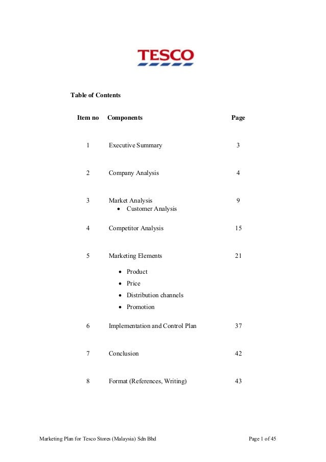 Table of Contents  Item no  Components  Page  1  Executive Summary  3  2  Company Analysis  4  3  Market Analysis    Cust...