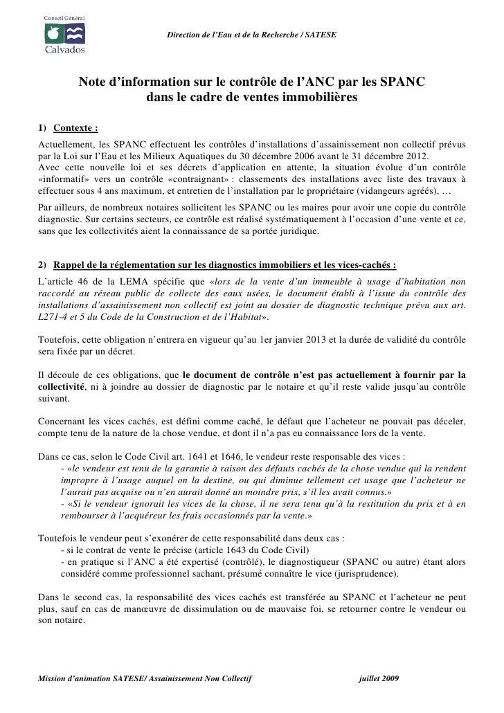 Direction de l'Eau et de la Recherche / SATESE               Note d'information sur le contrôle de l'ANC par les SPANC    ...