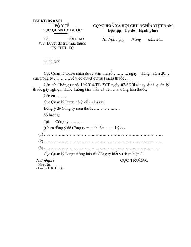 BM.KD.05.02/01 BỘ Y TẾ CỤC QUẢN LÝ DƯỢC CỘNG HOÀ XÃ HỘI CHỦ NGHĨA VIỆT NAM Độc lập - Tự do - Hạnh phúc Số: /QLD-KD V/v Duy...