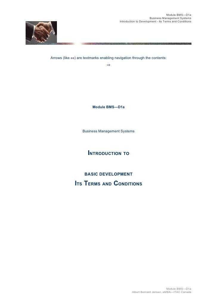 Module BMS—D1a                                                                 Business Management Systems                ...