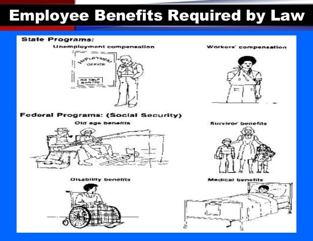 employee benefits required by law Start studying chapter 13 learn vocabulary, terms, and more with flashcards legally required benefits and tax laws can make benefits favorable whatare the types of employee benefits required by law-employers must contribute to the old age.