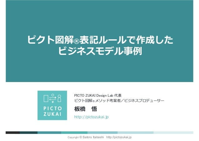 Copyright © Satoru Itabashi http://pictozukai.jp http://pictozukai.jp ピクト図解®メソッド考案者/ビジネスプロデューサー 板橋 悟 PICTO ZUKAI Design La...