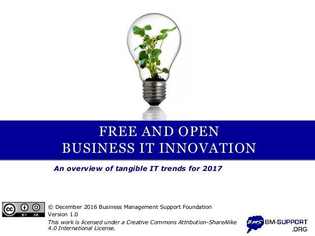 FREE AND OPEN BUSINESS IT INNOVATION An overview of tangible IT trends for 2017 © December 2016 Business Management Suppor...