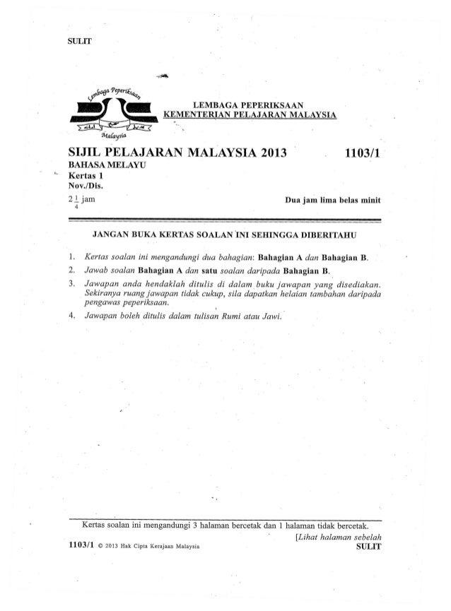 Contoh Soalan Peperiksaan Bahasa Melayu Tingkatan 5
