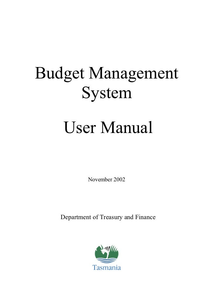 Budget Management     System    User Manual            November 2002   Department of Treasury and Finance