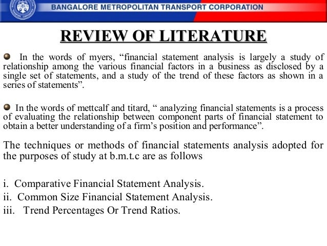 Literature review financial analysis