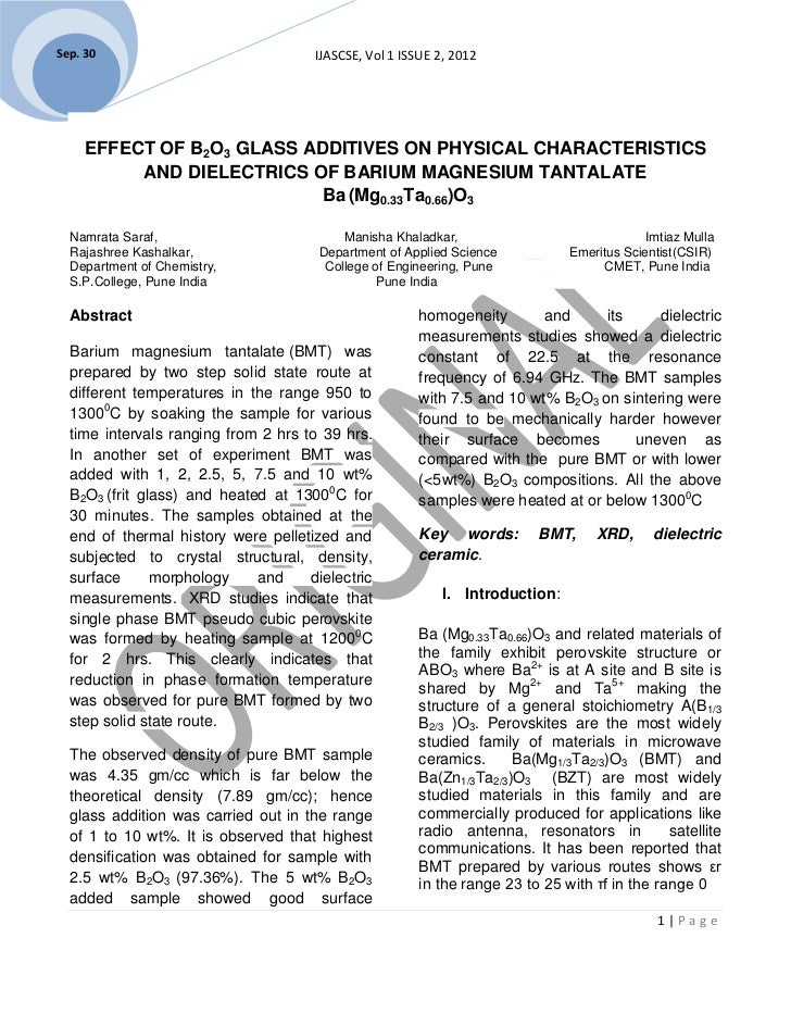 Sep. 30                               IJASCSE, Vol 1 ISSUE 2, 2012     EFFECT OF B2O3 GLASS ADDITIVES ON PHYSICAL CHARACTE...