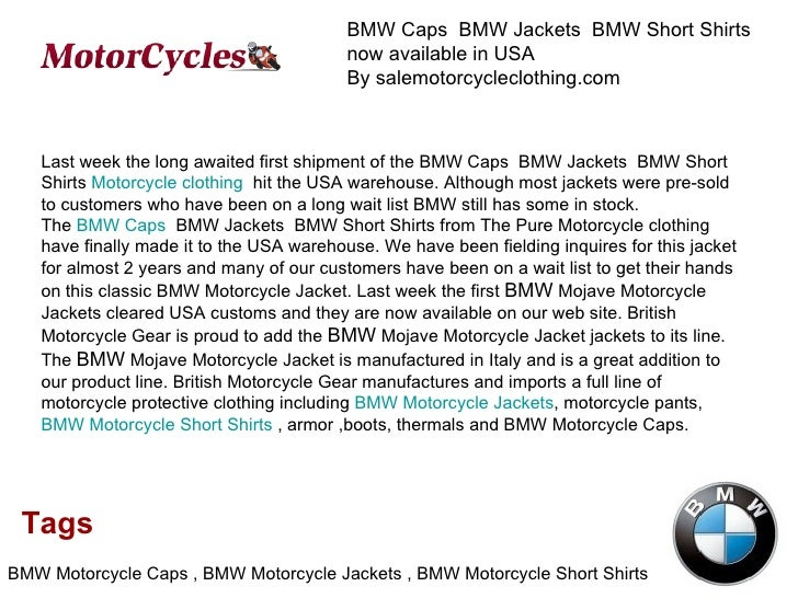 BMW Caps  BMW Jackets  BMW Short Shirts  now available in USA By salemotorcycleclothing.com Tags BMW Motorcycle Caps , BMW...
