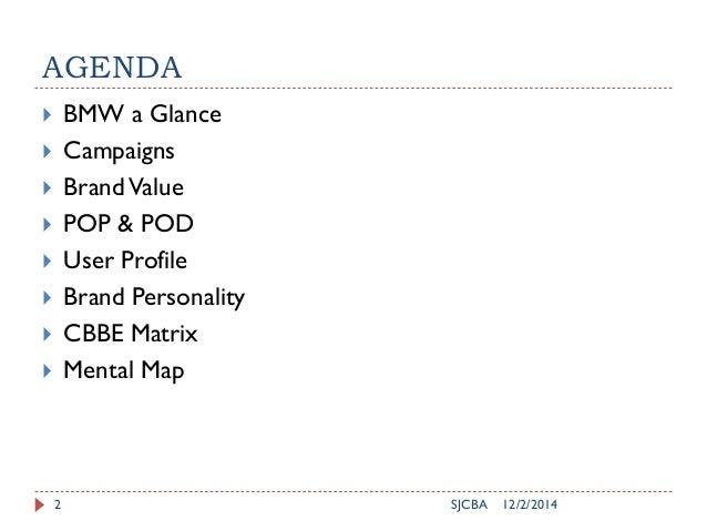 AGENDA  BMW a Glance  Campaigns  BrandValue  POP & POD  User Profile  Brand Personality  CBBE Matrix  Mental Map 1...