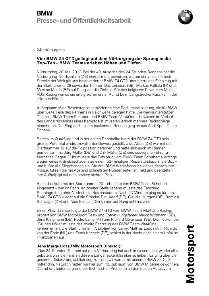 BMWPresse- und Öffentlichkeitsarbeit24h NürburgringVier BMW Z4 GT3 gelingt auf dem Nürburgring der Sprung in dieTop-Ten – ...