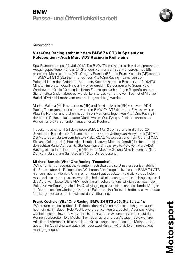 BMWPresse- und ÖffentlichkeitsarbeitKundensportVita4One Racing steht mit dem BMW Z4 GT3 in Spa auf derPoleposition – Auch ...