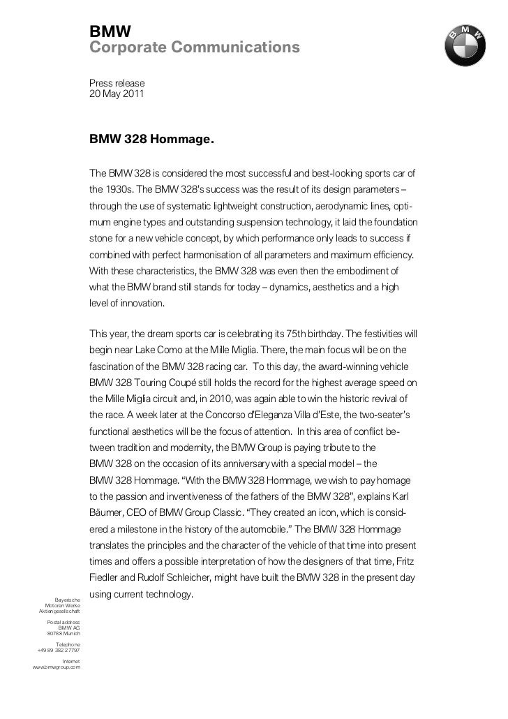 BMW                       Corporate Communications                       Press release                       20 May 2011  ...