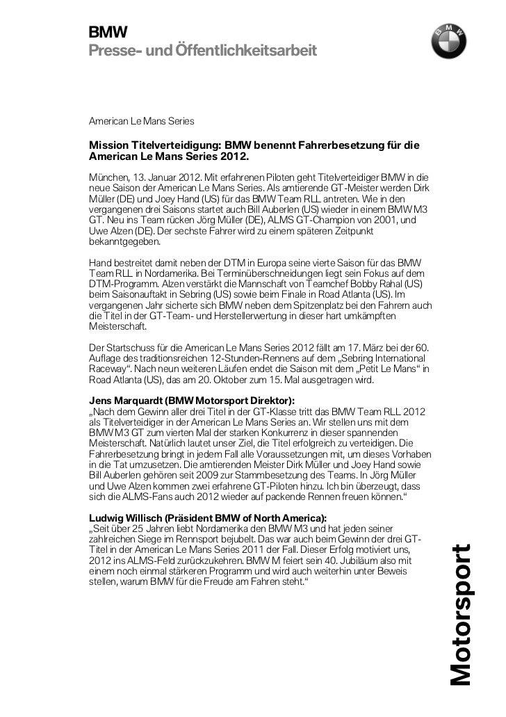 BMWPresse- und ÖffentlichkeitsarbeitAmerican Le Mans SeriesMission Titelverteidigung: BMW benennt Fahrerbesetzung für dieA...