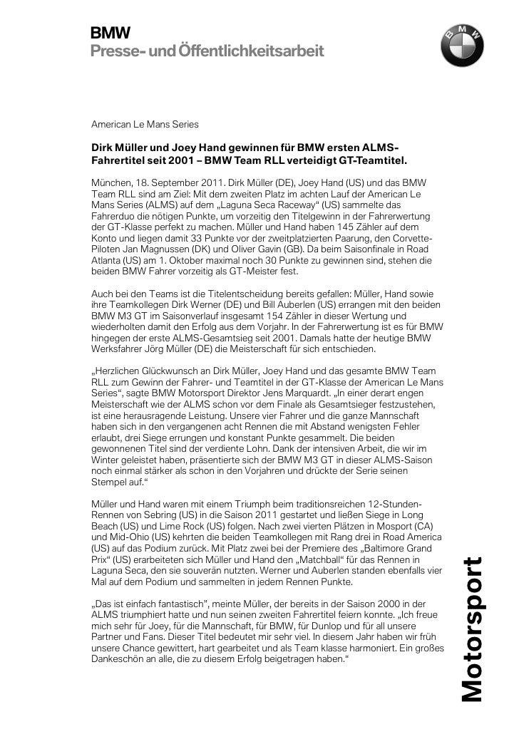 BMWPresse- und ÖffentlichkeitsarbeitAmerican Le Mans SeriesDirk Müller und Joey Hand gewinnen für BMW ersten ALMS-Fahrerti...