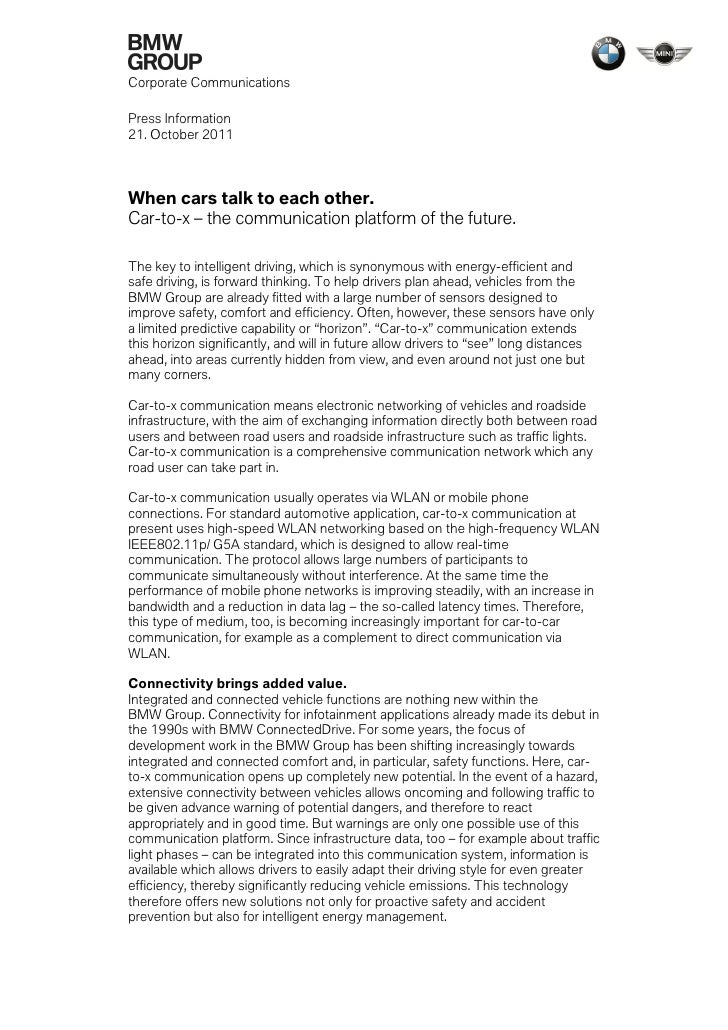 Corporate CommunicationsPress Information21. October 2011When cars talk to each other.Car-to-x – the communication platfor...