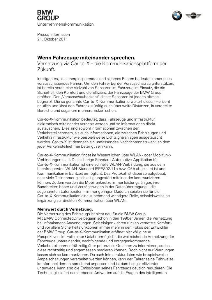 UnternehmenskommunikationPresse-Information21. Oktober 2011Wenn Fahrzeuge miteinander sprechen.Vernetzung via Car-to-X – d...