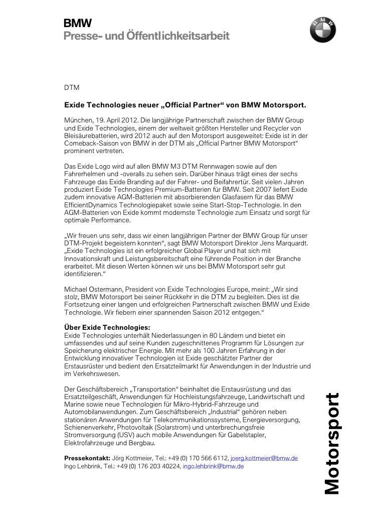 """BMWPresse- und ÖffentlichkeitsarbeitDTMExide Technologies neuer """"Official Partner"""" von BMW Motorsport.München, 19. April 2..."""